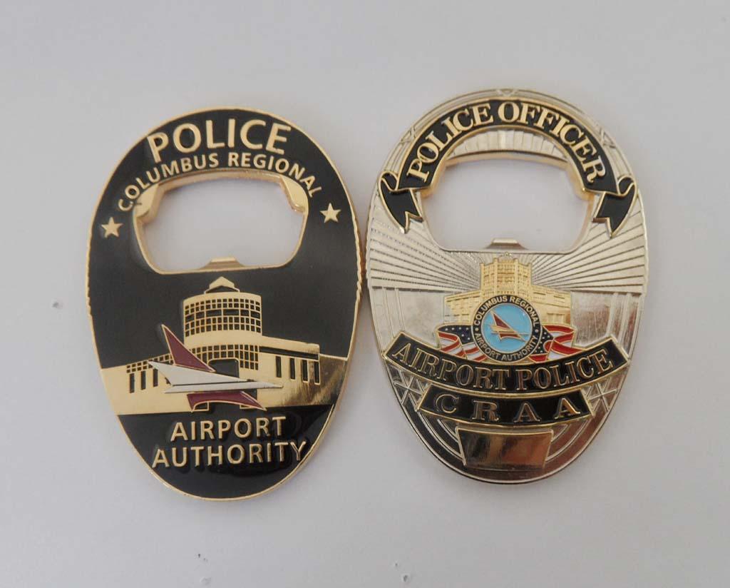 Columbus Airport Police badge Shaped btl opener custom police coin