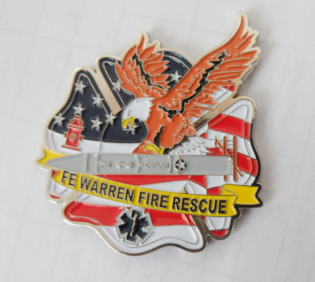 90th CES/CEF Fire Emergency Services Flight Warren, AFB FD Custom Shaped coin by Phoenix Challenge Coins