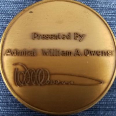 Authentic Vice Chairman of the Joint Chiefs Of Staff Admiral William A Owens Challenge Coin back