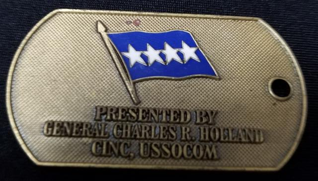 CINCUSSOCOM Commander in Chief US Special Operations Command General Holland Dog Tag Shaped Challenge Coin back