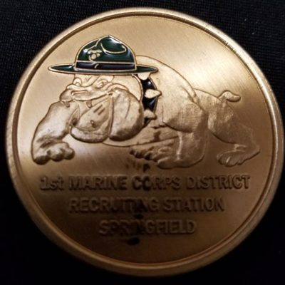 1st Marine Corps District Recruiting Station Springfield Devil Dog Challenge Coin back