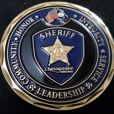 Chesapeake, Virginia Sheriff's Office Sheriff Jim O'Sullivan Challenge Coin back