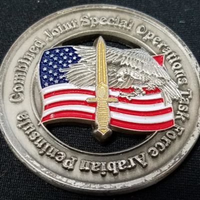 Combined Joint Special Operations Task Force-Arabian Peninsula CJSOTF-AP 10th Special Forces Group Airborne Commanders Combat Excellence Award Challenge Coin