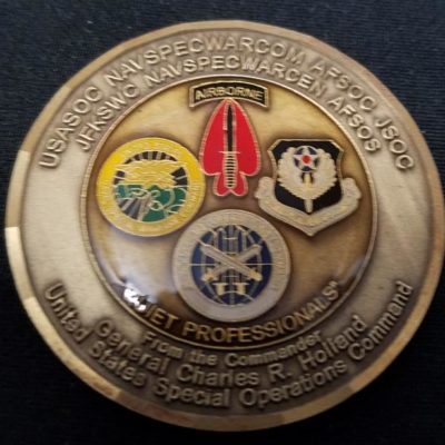 CINC USSOCOM Commander In Chief US Special Operations Command General Charles R Holland Round back