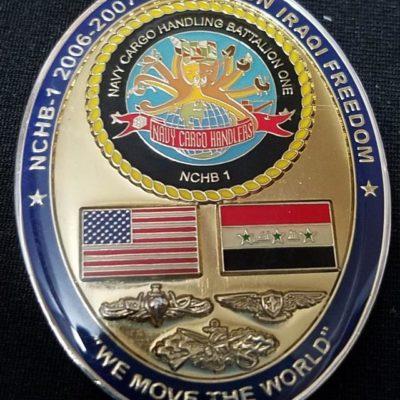 US Navy Cargo Handling Battalion 1 USN NHCB-1 OIF Oval shaped deployment challenge coin back