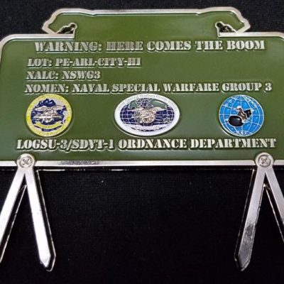 Naval Special Warfare Group 3 NSWG-3 LOGSU 3 SDVT-1 Ordinance Department Claymore Shaped Challenge Coin