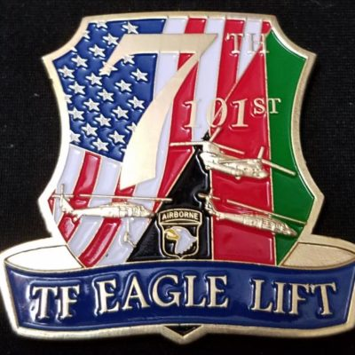 7th Battalion 101st Airborne Div TF Eagle Lift shaped combat Deployment Command Team Challenge Coin by Phoenix Challenge Coins