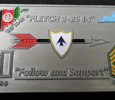 1-26th In Support TF Spader Fletch 6 and Fletch 7 Command Team OEF 11-12 Combat Deployment Challenge Coin By Phoenix Challenge Coins back