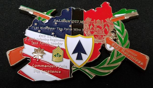1st Bn 26th Infantry Regiment Task Force Spader OIF 11-12 Deployment Unique Shaped Challenge Coin by Phoenix Challenge Coins back