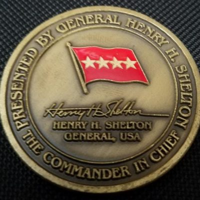 CINC USSOCOM Commander In Chief US Special Operations Command Commanding General Henry H Shelton Challenge Coin back