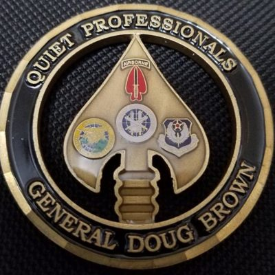 CINC USSOCOM Commander In Chief US Special Operations Command General Doug Brown Cut Out Challenge Coin back
