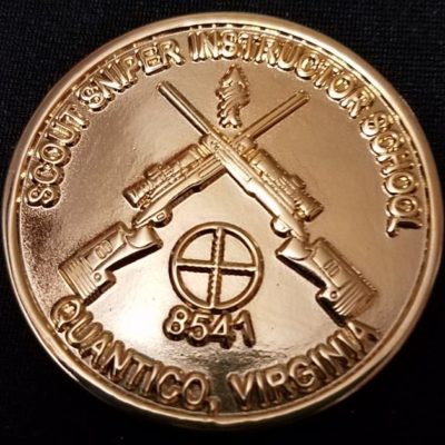Rare USMC Scout Sniper School Instructor 8541 v2 challenge coin back