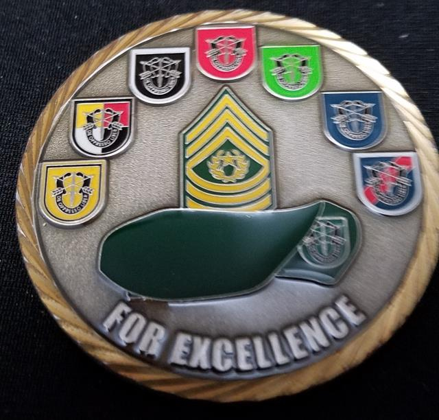 US Army Special Forces Command (Airborne) Command Sergeant Major USASFC (A)  CSM challenge coin