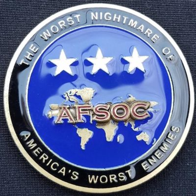 CINCAFSOC USAF US Air Force Special Operations Command 3 star Commanding General Challenge Coin back