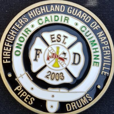 Naperville Ohio Fire Pipes and Drums Challenge Coin by Phoenix Challenge Coins