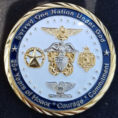 Captain James Baratta USN Retirement Custom Navy Coin By Phoenix Challenge Coins back