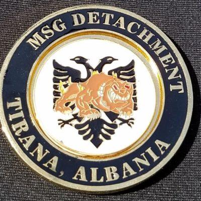 USMC MSG Det Tirana Albania Region 8 Custom Clockwise Spinner Challenge Coin by Phoenix Challenge Coins