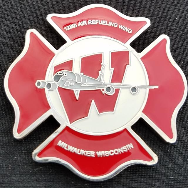 USAF128th ARW FD Refueling Wing Milwaukee WI Fire Department Challenge Coin by Phoenix Challenge Coins
