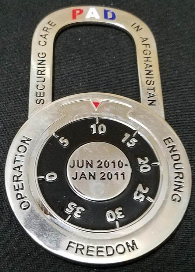 455 EMDG Bagram AB OEF Padlock shaped Challenge Coin