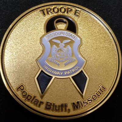 MSHP Missouri State Highway Patrol Troop E In Memory of EOW LODD Challenge Coin