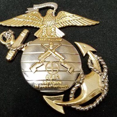 USMC Scout Sniper 8541 SSGT Williams EGA Shaped Challenge Coins back