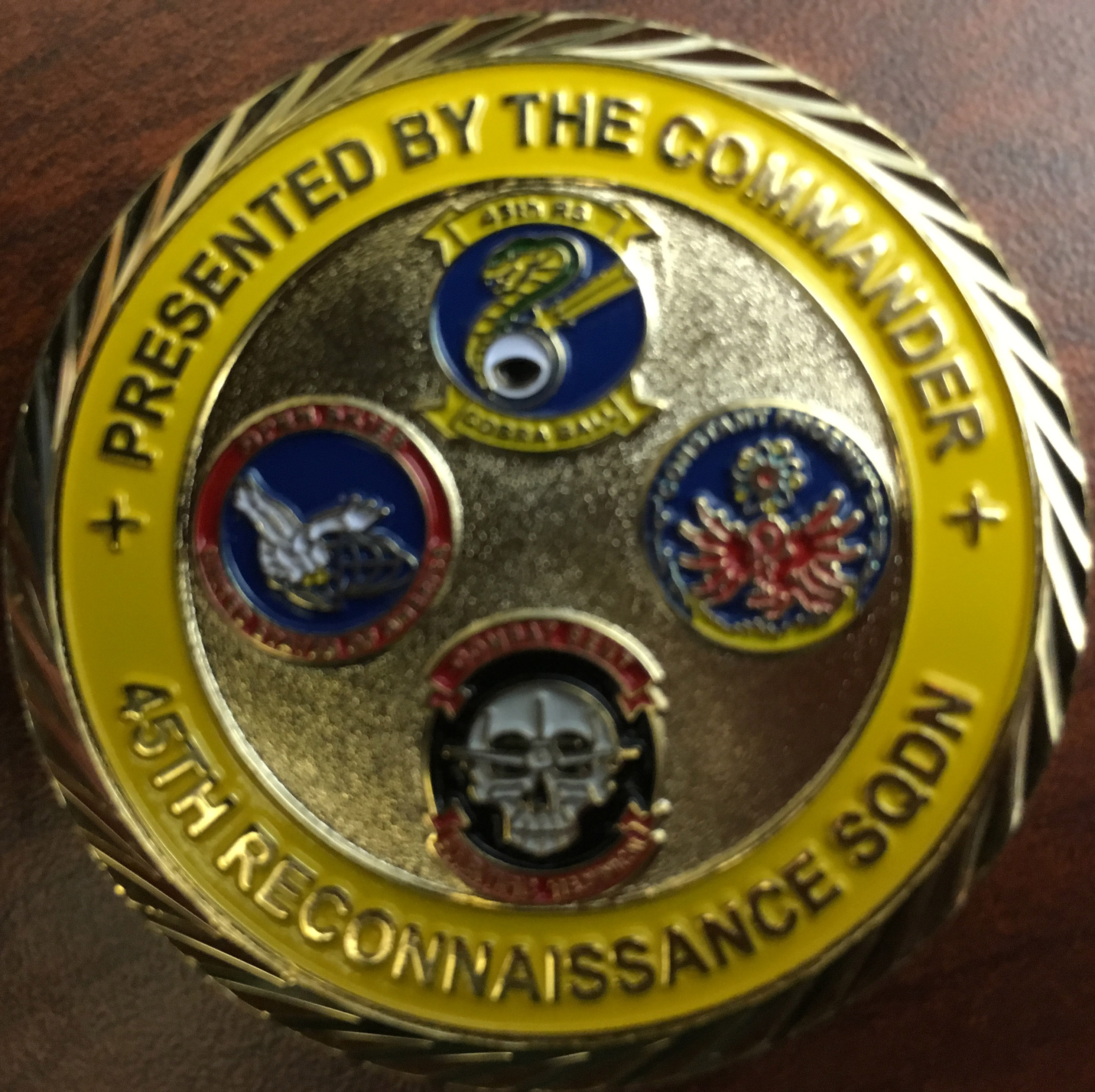 USAF 45th RS 45th Reconnaissance Squadron Commander's coin Wild Cats In God we trust all others we monitor Custom Challenge Coin back
