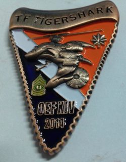 1-229th ARB TIGERSHARKS TF Tigershark OEF Command Team Shark tooth shaped Challenge COIN